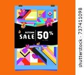autumn sale memphis style web... | Shutterstock .eps vector #737411098