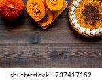 pumpkin pie for thanksgiving... | Shutterstock . vector #737417152