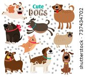 collection of cute cartoon dogs ... | Shutterstock .eps vector #737434702