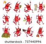 Vector Set Of Twelve Cartoon...