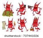 vector set of six cartoon... | Shutterstock .eps vector #737441026
