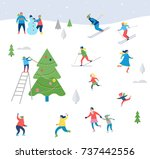 winter sport scene  christmas... | Shutterstock .eps vector #737442556