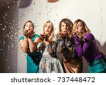group of girls having a party  | Shutterstock . vector #737448472