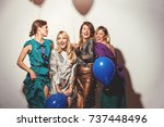 group of girls having a party  | Shutterstock . vector #737448496