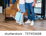 low section of father and... | Shutterstock . vector #737453608