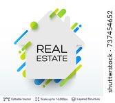 white badge house shaped... | Shutterstock .eps vector #737454652