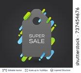 black badge super sale sticker. ... | Shutterstock .eps vector #737454676