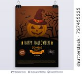 halloween party poster. jack... | Shutterstock .eps vector #737455225