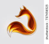 paper art carve to fox  origami ... | Shutterstock .eps vector #737458525