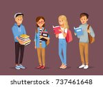 students with books | Shutterstock .eps vector #737461648