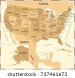 united states map   vintage... | Shutterstock .eps vector #737461672