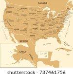 united states map   vintage... | Shutterstock .eps vector #737461756