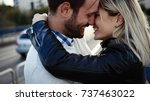 romantic young happy couple... | Shutterstock . vector #737463022