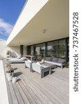 grey garden furniture on board... | Shutterstock . vector #737467528