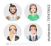 call center operator icons.... | Shutterstock .eps vector #737473012
