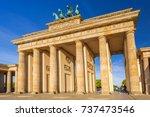 the brandenburg gate in berlin... | Shutterstock . vector #737473546