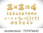 metallic gold letter balloons ... | Shutterstock .eps vector #737476642