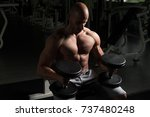 strong man in the gym and...   Shutterstock . vector #737480248