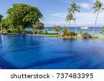 beautiful swimming pool at...   Shutterstock . vector #737483395