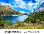 glacial lake with clear cold... | Shutterstock . vector #737486476