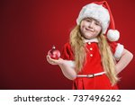 little beautiful girl dressed... | Shutterstock . vector #737496262