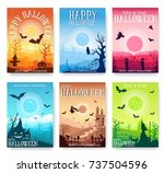 halloween time background... | Shutterstock .eps vector #737504596