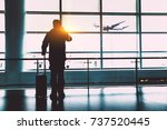 airport terminal ready to board ... | Shutterstock . vector #737520445