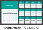 calendar for 2018 green... | Shutterstock .eps vector #737521072