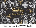 christmas background with hand... | Shutterstock .eps vector #737524486