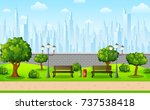 green city park with town... | Shutterstock . vector #737538418
