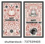 happy thanksgiving day. banner... | Shutterstock .eps vector #737539405