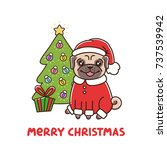 cute dog breed pug in santa... | Shutterstock .eps vector #737539942