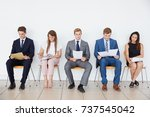 candidates waiting for job... | Shutterstock . vector #737545042