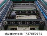 conveyor belt and conveyor...   Shutterstock . vector #737550976