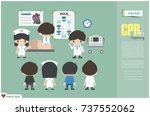 cpr training . medical team are ...   Shutterstock .eps vector #737552062