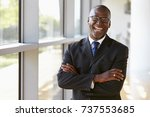 portrait of a smiling... | Shutterstock . vector #737553685