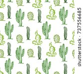 cactus seamless pattern color... | Shutterstock . vector #737556685