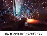 welder  craftsman  erecting... | Shutterstock . vector #737557486