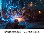 welder  craftsman  erecting... | Shutterstock . vector #737557516