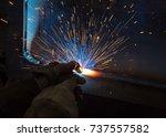welder  craftsman  erecting... | Shutterstock . vector #737557582