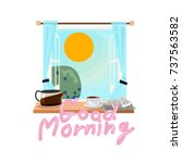 window in the morning with... | Shutterstock .eps vector #737563582