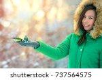 beautifull girl pour seeds in... | Shutterstock . vector #737564575