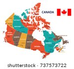 canada map and flag   vector... | Shutterstock .eps vector #737573722