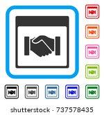 handshake calendar page icon.... | Shutterstock .eps vector #737578435