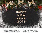 happy new year 2018 greeting ... | Shutterstock . vector #737579296