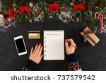 christmas wish list writing.... | Shutterstock . vector #737579542