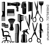 hairdresser tools icons set....
