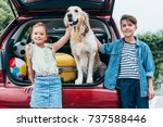 happy little kids with cute dog ... | Shutterstock . vector #737588446