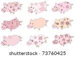 cute piglets. | Shutterstock .eps vector #73760425