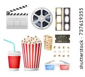 cinema movie icons set.... | Shutterstock .eps vector #737619355